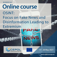 SACC by EJC CEO and Head of Research and Analysis deliver training session on 'Fake News and Disinformation Impact on Online Hate Speech' as part of CEPOL's (European Union Agency for Law Enforcement Training) online course for law enforcement officers